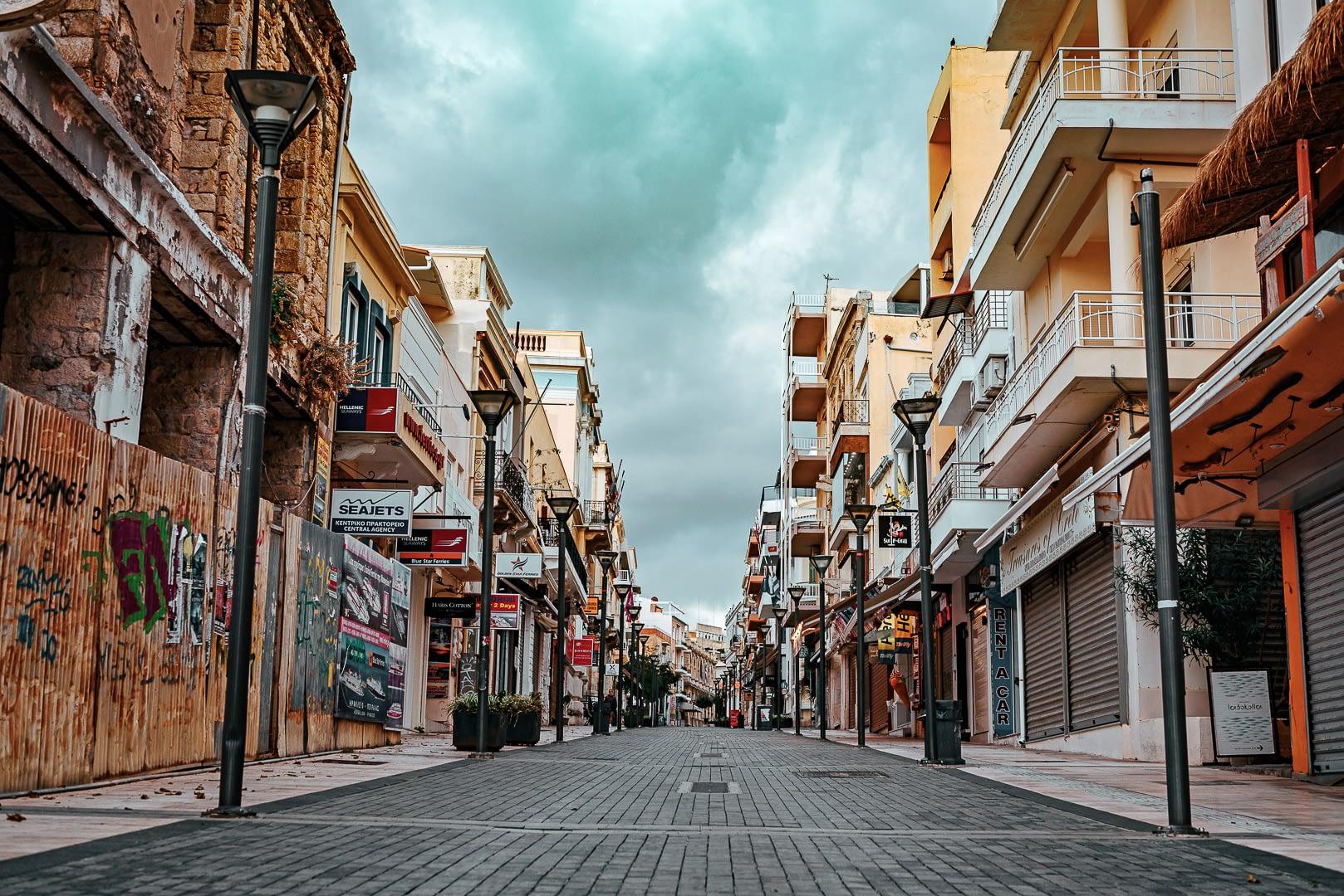 City oh heraklion in crete during quarantine period.