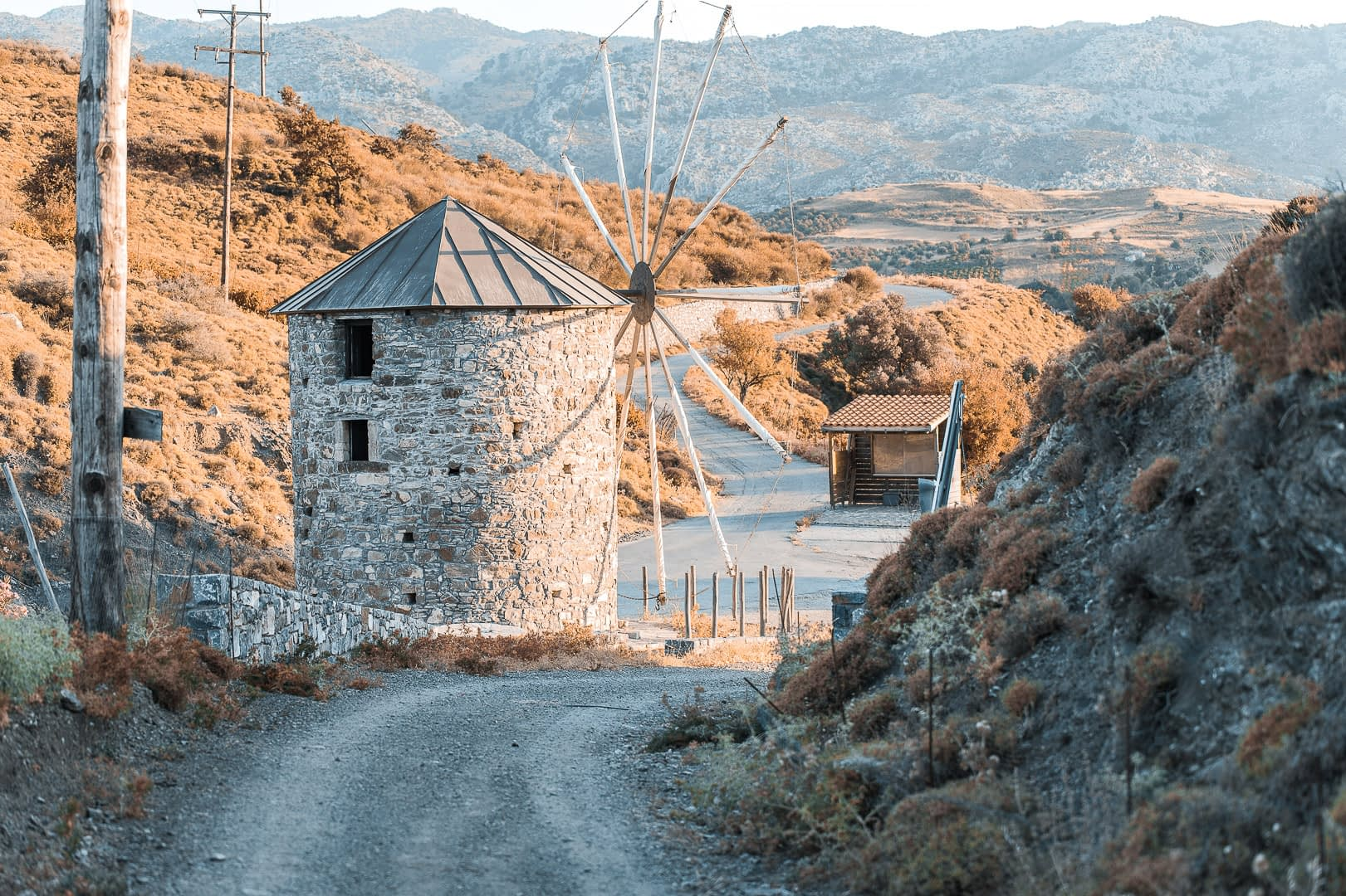 An old mill in an old village in a beautiful place in crete.